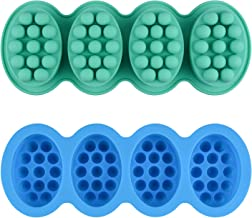 2 Pcs Silicone Massage Bar Soap Molds - SJ Silicone Molds for Soaps Making, Handmade Soap Molds, Nonstick & BPA Free (Blue...