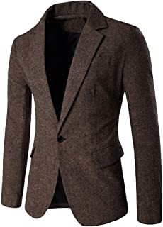 Men's Suit Fashion Slim Pure Color Fit Long Sleeve Comfortable Sizes Blazer Men Coat for Business Wedding Party Business O...