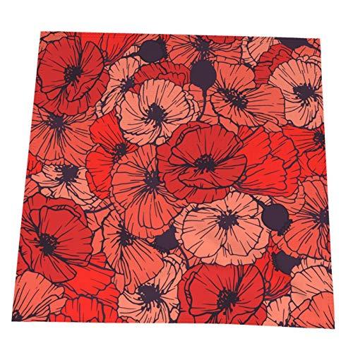 Ye Hua Rote Mohnblumen Sommerblumen Tischset, Crossweave Schwarzes Vinyl rutschfeste Isolierung Tischset Waschbare Tischsets 4er-Set