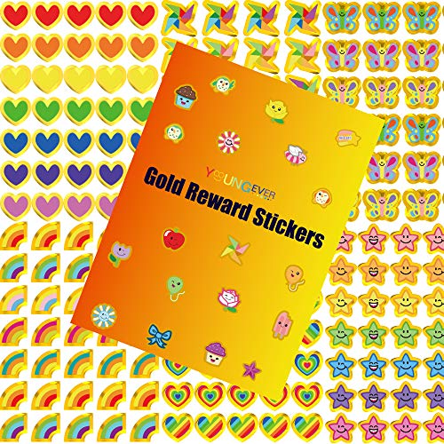 Youngever 4850 Gold Reward Stickers, Teacher Stickers for Kids, Mega Variety Pack, Reward Stickers with Gold Outline for Teacher Supplies Classroom Supplies, 24 Design Styles