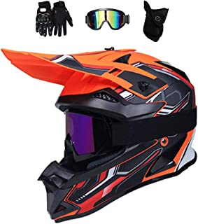 Motocross Helm mit Brille/Handschuhe/Maske, Motorrad Crosshelm Fullface Enduro MTB Helm Cross Helm Motorradhelm Damen Herren, 4 Stile Verfügbar