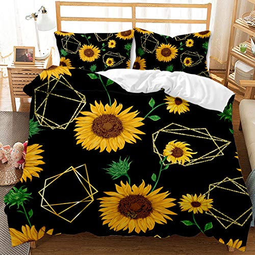 QXbecky Sunflower Bedding Soft Microfiber Quilt Cover Pillowcase 2, 3 Piece Set, Warm and Breathable, Comfortable Sleep 135x200cm