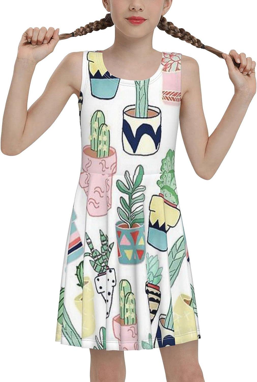 SDGhgHJG Cactus Sleeveless Dress for Girls Casual Printed Vest Skirt
