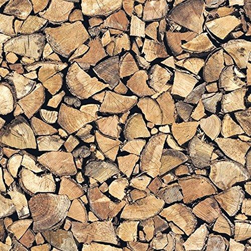 [18,83€/m²] Klebefolie in Holz-Optik Feuerholz I inkl. Rakel & eBook mit Profitipps I Selbstklebende Folie zum Basteln I Deko-Folie zum Verschönern von Möbel & Küche – hitzebeständig & abwaschbar