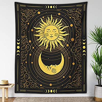 """Sun Moon Tapestry Starry Night Wall Hanging Moon Landscape Constellations Lunar Phases Bohemian Eclipse Black and White Wall Decor Astrology Galaxy Boho Celestial Tapestry (Yellow Sun-Moon, 59""""x79"""")"""