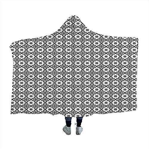 Marokkaanse deken hoodie Soft Cloak monochroom tegels design voor volwassenen en kinderen 50