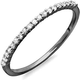 0.15 Carat (ctw) Black Rhodium Plated 10k Round Diamond Ladies Wedding Band Stackable Ring, White Gold