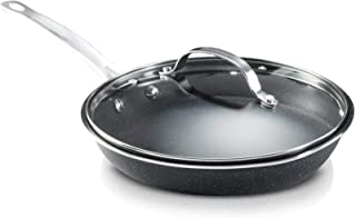 GRANITESTONE Nonstick Fry Pan with Lid, 10-inch Skillet with Glass Cover, Dishwasher Safe, Warp Free and Stay Cool Handles, Black
