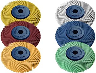 Dedeco Sunburst - 2 Inch TC 3-PLY Radial Bristle Discs - 1/4 Inch Arbor - Industrial Thermoplastic Rotary Cleaning and Polishing Tool Set, Assorted: 1 of Each 6 Grit Textures (6 Piece)