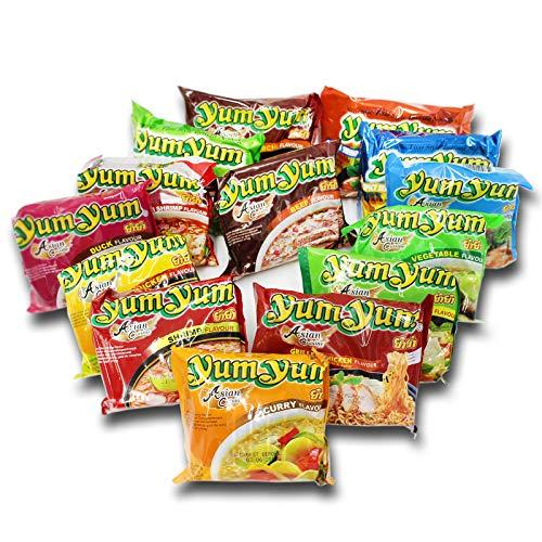 Yum Yum Nudeln | Thailändische | Instantnudeln | Mixkarton | Pack (30x60g) | 9 Geschmacksrichtungen (Huhn, Ente, Rind, Shrimp, Gemüse, Curry, Japanese Chicken, Sriracha Chicken, Grilled Chicken)