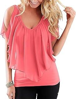 FRPE Womens Batwing Sleeve Chiffon Off Shoulder Casual Plain Blouse Top T-Shirt
