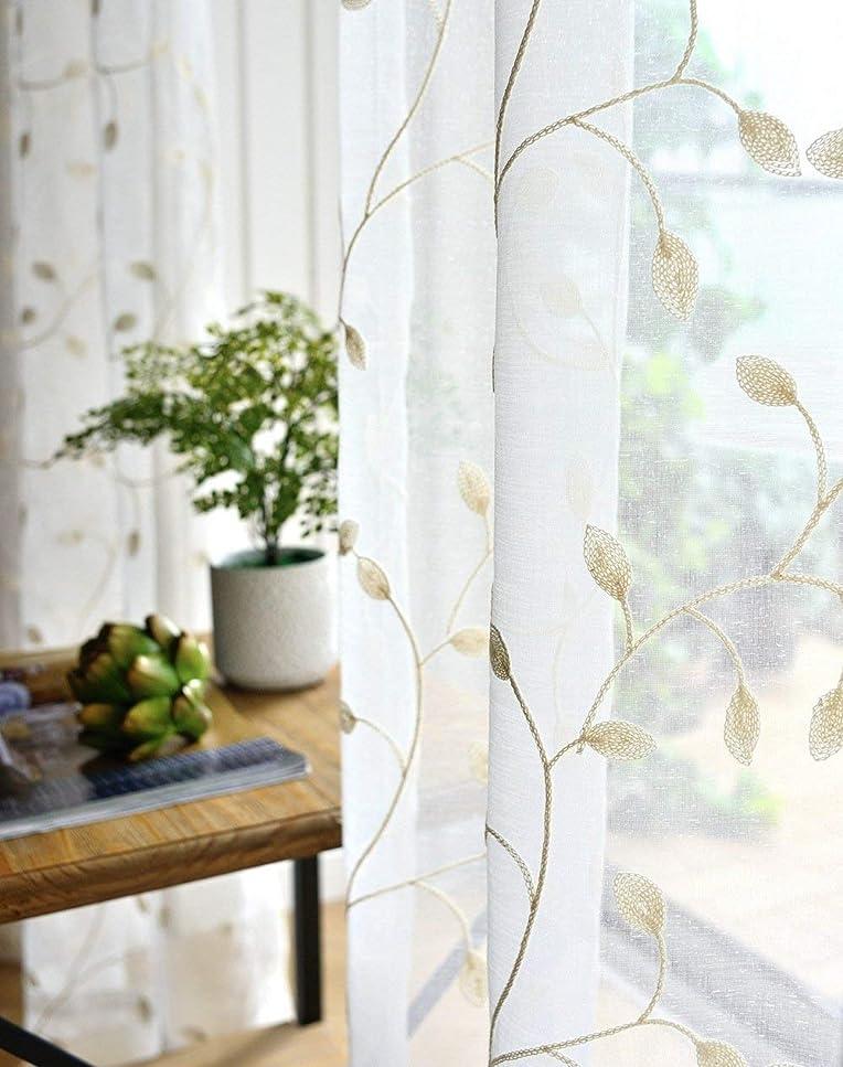 解く申請者早熟TIYANA 葉柄 レースカーテン 2枚組 幅200cm×丈230cm 薄い 白色の葉の刺繍 美しいカーテン 換気 部屋,オーダーサイズ可