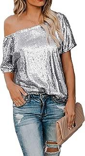MogogN Women's Short-Sleeve Coctail Party Sequin T Shirts Blouse Tops Tunics