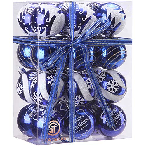 Sea Team 60mm/2.36' Delicate Painting & Glittering Shatterproof Christmas Ball Ornaments Decorative Hanging Christmas Ornaments Baubles Set for Xmas Tree - 24 Counts (Blue)