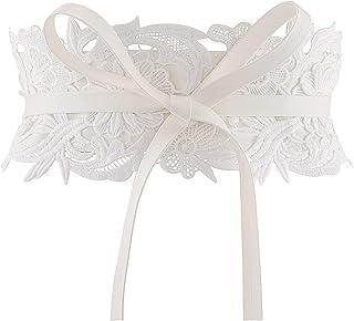 Ayliss Women's Lace Waist Belt Obi Bowknot Cinch Wide Belt Bow Tie Wrap Boho Corset Dress Waist Band Pu Leather