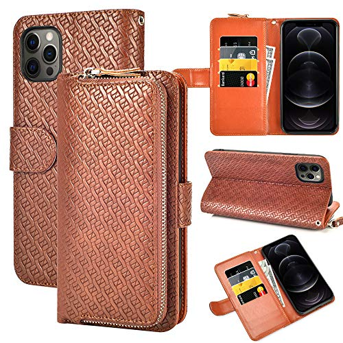 LAMEEKU Wallet Case Compatible with iPhone 12 Pro Max, Case with Card Holder Leather Cover Zipper Purse Wrist Strap Protective Bumper Phone Cover Design for iPhone 12 Pro Max 5G 6.7'', Brown