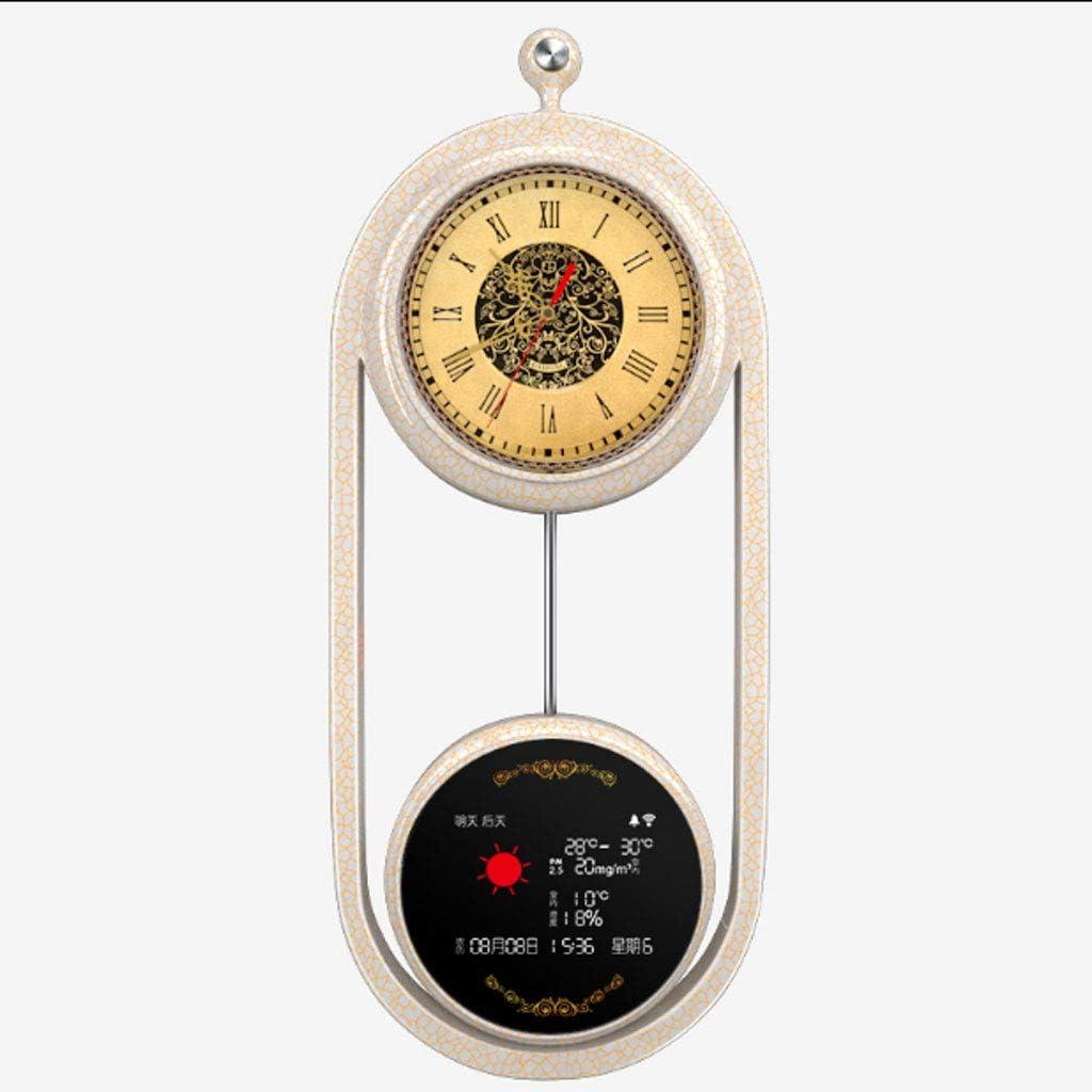 jinyi2016SHOP Reloj de Pared Red Reloj de Pared Teléfono móvil WiFi Reloj Calidad del Aire Pronóstico del Tiempo Perpetuo Calendario Temperatura Fecha y Humedad Pantalla Reloj Reloj de Decoración