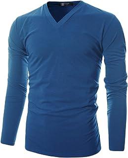 GIVON Mens Slim Fit Soft Cotton Long Sleeve Lightweight Thermal V-Neck T-Shirt