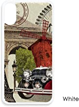 Old Car France Eiffel Tower for iPhone XS Cases White Phonecase Apple Cover Case Gift
