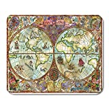 Alfombrillas de ratón Vintage World Atlas Map on Antique Pirate Adventures Treasure Hunt and Old Transportation Graphic Mouse Pad Mats 9.5' x 7.9' for Notebooks,Desktop Computers Mini Office Supplies