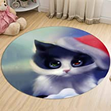 Round Carpet Bedroom Living Room Kitchen Non-Slip Soft Cat Rugs Flannel for Adult Children Floor Mats,2,60cm
