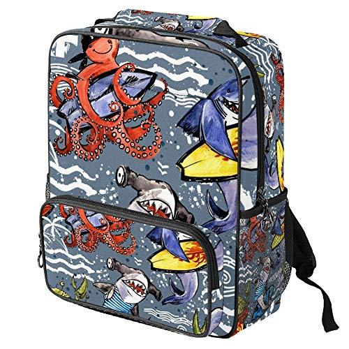 TIZORAX - Mochila escolar para niñas y niños, con dibujos animados de surf, tiburón, pulpo, mujer, mochila de viaje, casual, viaje, senderismo, acampada