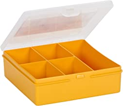 Wham 8.03 Square Storage Box with 5 Division, Sunflower/Clear - 5H x 17W x 16D cm