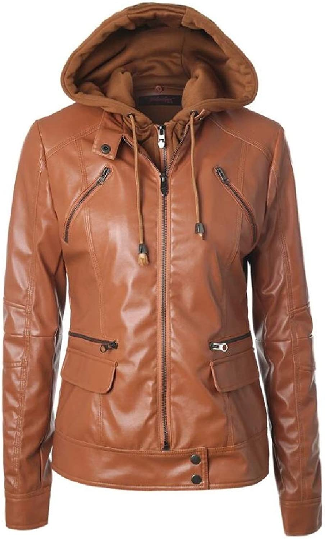 DressUWomen FauxLeather Zip with Removable Pads Drawstring PU Jackets