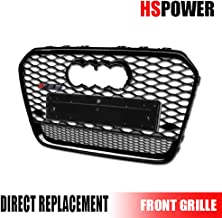 Hs Power Front Grill Compatiable with Compatible For Audi A6 C7 13-15 | Glossy Black Finished Rs Honeycomb Mesh Front Hood Bumper Grill Grille