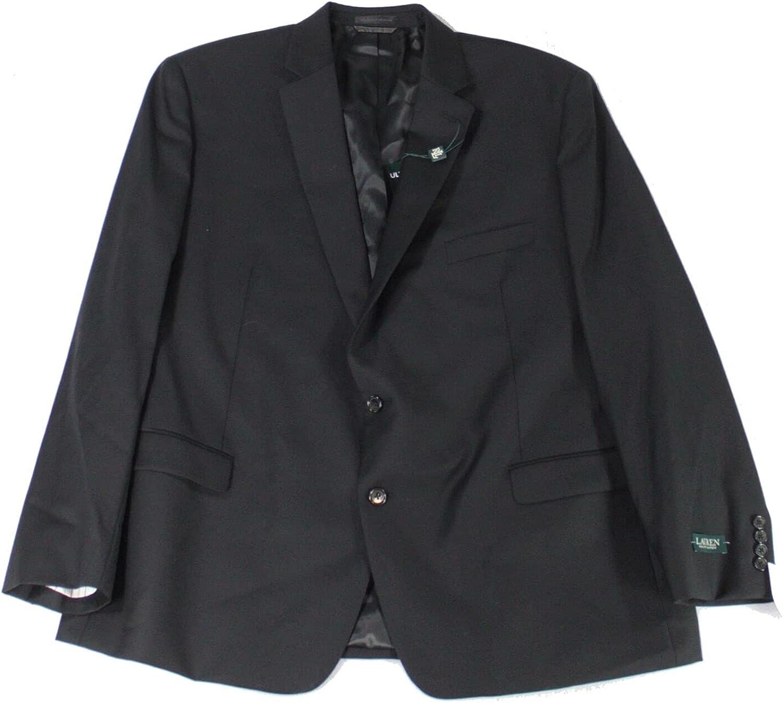 LAUREN RALPH LAUREN Solid Black Ultraflex Wool Blazer (40R)