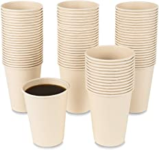 JAYEEY 160 Count 15 OZ Disposable Coffee Cups Bamboo Paper Cups, Natural Eco-Friendly Bamboo Fiber Cups Brown Hot Cups Hot...