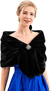 Bride Wedding Faux Fur Shawls and Wraps Bridal Fur Scarf Stoles for Women and Girls