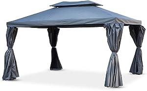 Tonnelle/Pergola Aluminium 3x4m Rideaux coulissants Tente de Jardin- Gris - Roma
