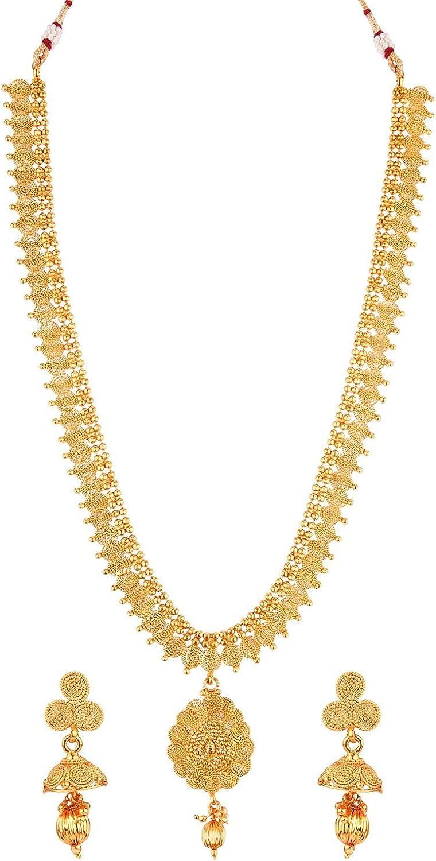 Efulgenz Indian Jewelry Bollywood Antique Choker Necklace Earrings Wedding Bridal Jewelry Set, Gold