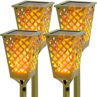 Walensee Solar Flame Flickering Lamp Torch, Bronze Color,4 Pack Led Solar Path Torch Light Dancing Flame Like Real Fire, Solar Torch Lights Outdoor for Walkway, Patio Dusk to Dawn. Auto ON/Off