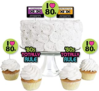 80's Retro - Dessert Cupcake Toppers - Totally 1980s Party Clear Treat Picks - Set of 24