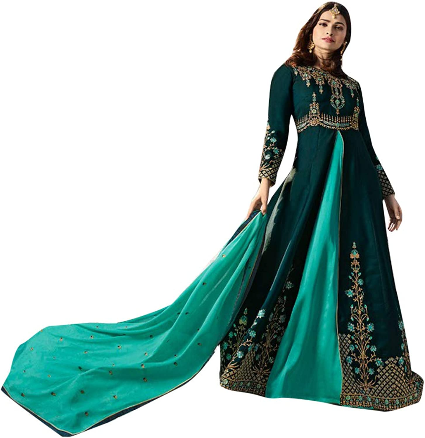 Muslim Women Wear Long Split Cut Salwar Kameez Suit Indian Ethnic 7396