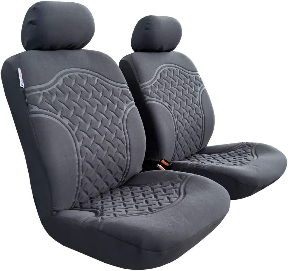 seakomoto Ultra Comfort Front Seat Covers Embossed Carbon Grey Design Soft Velour w// 6mm Foam Airbag Compatible Bucket Auto Protector
