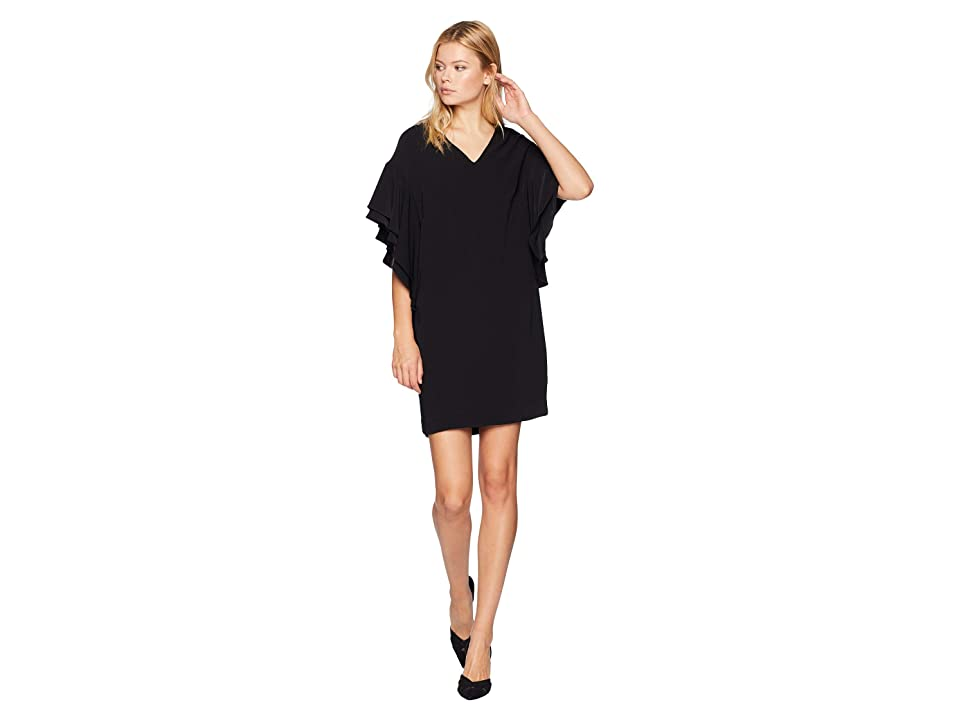 LAUREN Ralph Lauren Flutter-Sleeve Shift Dress (Polo Black) Women