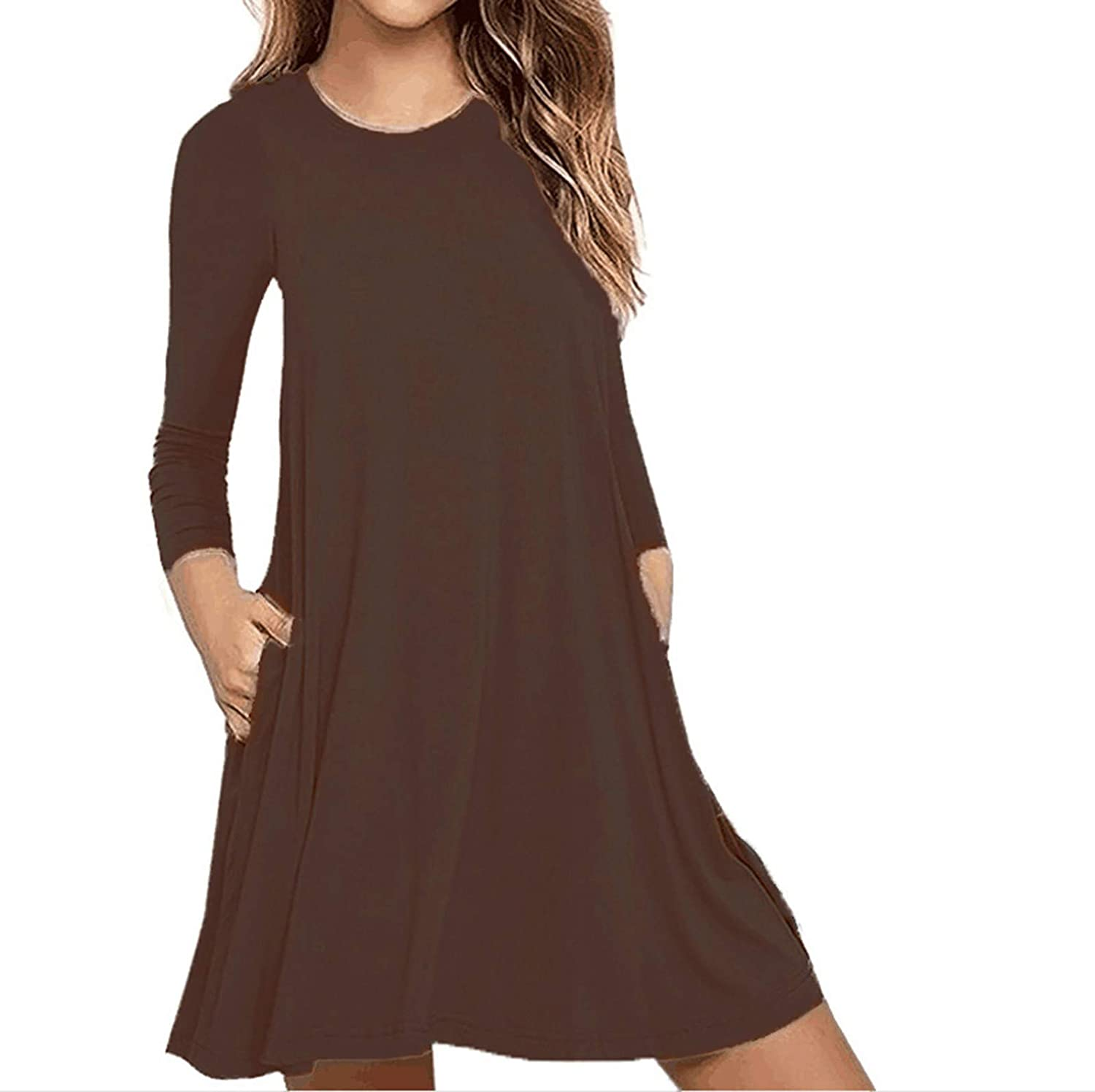 PAPIYON Womens Solid Crew Neck Summer Dress Long Sleeve Casual Swing Cover UP Daily Ladies Short Dress with Pockets