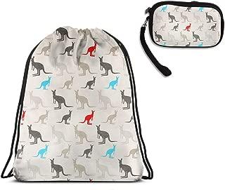 Men Women Australia Kangaroos Waterproof Sport School Drawstring Bag
