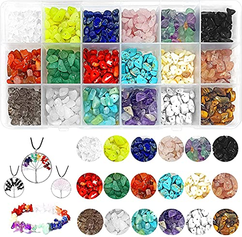 Edelsteine mit Loch, 5-8mm Naturform Perlen, Gemstone Chips Beads, Edelsteinperlen Naturform Perlen, DIY Armbänder Selber Machen, Edelsteine Beads für DIY Schmuck Armbänder Herstellung Basteln