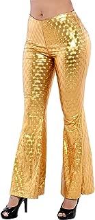 NIliker Women Shiny Stretchy Metallic Flare Bell Bottom Wide Leggings Pants