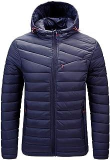 HEFASDM Mens Brumal Warm Hoode Light Weight Jacket coat Quilted Jacket