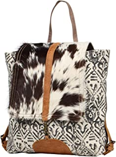 Myra Bag Oriental Cowhide and Upcycled Canvas Backpack S-1269