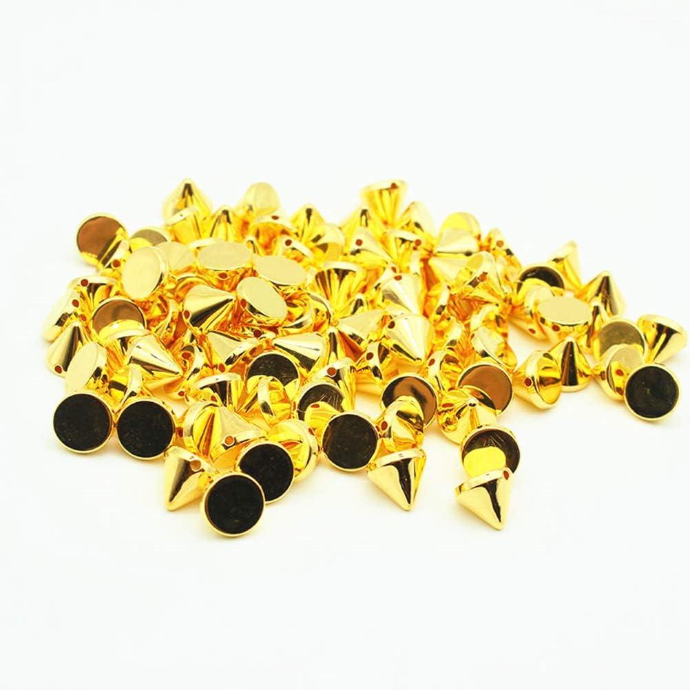 Perles V/êtements De Bricolage Coller Sur Coller Sur Or Sacs Chaussures Embellissement Coudre Sur SUPVOX 100pcs 10mm Or Acrylique Bullet Spike Cone Studs