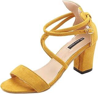 65b0556ea7ed53 Innerternet Sandales à Talons CarréS Femme Bloc Casual Chaussures Simples  Bout Pointu Casual Sandales Romaines DéContracté