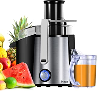 Hilax 850W Centrifugal Juicer Extractor Machine 3 Inch Wide Mouth 2-SPEED LED Light Button Easy to Clean Stainless Steel Juice Blender for Fruits and Veggie