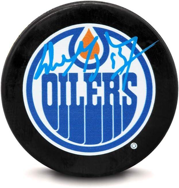 Upper Deck Wayne Gretzky Edmonton Oilers Puck Signature Blue Columbus Mall Fashion