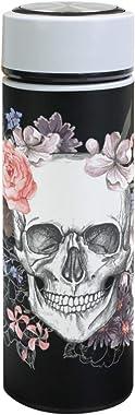 ZZKKO Sugar Skull Vacuum Insulated Stainless Steel Water Bottle, Halloween Skull Thermos Cup Water Bottle Travel Mug BPA Free
